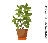 Vector Flat House Plant Pot...
