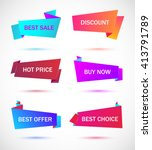 vector stickers  price tag ... | Shutterstock .eps vector #413791789