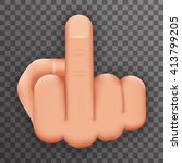 realistic 3d hand middle finger ... | Shutterstock .eps vector #413799205