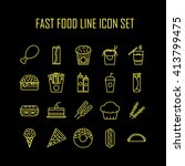 set of line icons with fast... | Shutterstock .eps vector #413799475