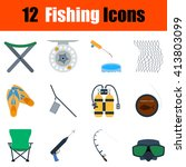 flat design fishing icon set in ...