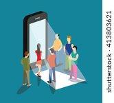 mobile app flat 3d isometry...   Shutterstock .eps vector #413803621