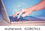 keyboard touch with high tech... | Shutterstock . vector #413807611