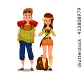 two young tourists on vacation... | Shutterstock .eps vector #413808979
