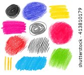 collection of color pencil... | Shutterstock . vector #413810179