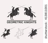knights logo set. knights... | Shutterstock .eps vector #413811001