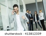 businessman on a phone in the... | Shutterstock . vector #413812339