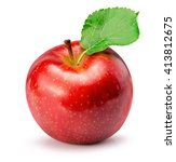 red apple isolated on the white ... | Shutterstock . vector #413812675