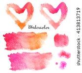set of watercolor blots...   Shutterstock . vector #413813719