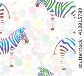 colorful zebra on background of ... | Shutterstock .eps vector #413815789