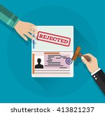 hand puts a stamp in the... | Shutterstock .eps vector #413821237