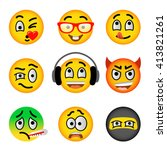 emoji emoticons. smiley face... | Shutterstock .eps vector #413821261