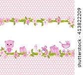 teddy bear for baby girl . baby ... | Shutterstock .eps vector #413822209