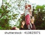 joyful girl with the blonde... | Shutterstock . vector #413825071