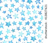 seamless blue sky watercolor... | Shutterstock . vector #413827621