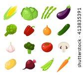 set of cartoon food  vegetables ... | Shutterstock .eps vector #413835391