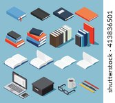 isometric library and... | Shutterstock .eps vector #413836501