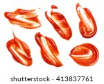 collection of ketchup stains on ... | Shutterstock . vector #413837761