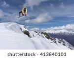 snowboard rider jumping on... | Shutterstock . vector #413840101