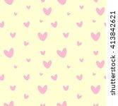 heart seamless pattern. cute... | Shutterstock .eps vector #413842621