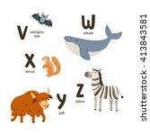 animal alphabet letters v to z  ... | Shutterstock .eps vector #413843581