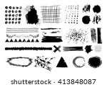 vector set of black brush... | Shutterstock .eps vector #413848087