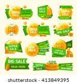 green banners with gold coin... | Shutterstock .eps vector #413849395