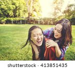 sister friendship affectionate... | Shutterstock . vector #413851435