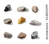 rocks and stones mountain set.... | Shutterstock .eps vector #413855299