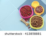 Stock photo pet food in bowls on a floor 413858881