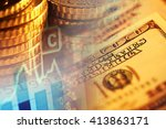 euro coins and us dollar... | Shutterstock . vector #413863171