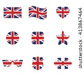 british flag icon set . vector... | Shutterstock .eps vector #413867464