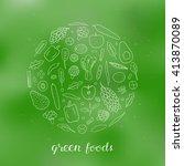 hand drawn outline green fruits ... | Shutterstock .eps vector #413870089