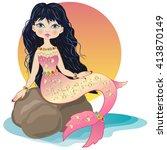 freehand drawing mermaid | Shutterstock .eps vector #413870149