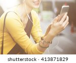 woman listening music media... | Shutterstock . vector #413871829