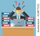 overworked employee  work...   Shutterstock .eps vector #413877151