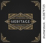Art deco frame and label design suitable for Luxurious Business such as Hotel, Spa, Real Estate, Restaurant, Jewelry and Product tags. Vector illustration | Shutterstock vector #413879725