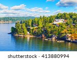 scenic summer scandinavian... | Shutterstock . vector #413880994