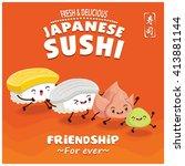vintage sushi poster design... | Shutterstock .eps vector #413881144