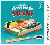vintage sushi poster design.... | Shutterstock .eps vector #413881165
