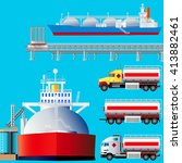lng terminal  tankers and... | Shutterstock .eps vector #413882461