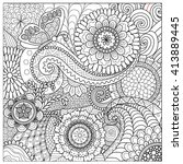 hand drawn zentangle floral... | Shutterstock .eps vector #413889445