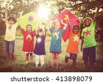 children playing kite happiness ... | Shutterstock . vector #413898079