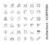 thin line icons set. flat... | Shutterstock .eps vector #413899084