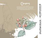 ginseng background design | Shutterstock .eps vector #413910319