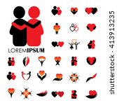 love and heart intimacy and... | Shutterstock .eps vector #413913235