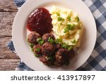 swedish meatballs kottbullar ... | Shutterstock . vector #413917897