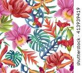 seamless tropical flower  plant ... | Shutterstock . vector #413939419