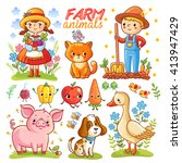 farm cartoon set with farm... | Shutterstock .eps vector #413947429