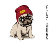 puppy dog pug in a hipster hat. ... | Shutterstock .eps vector #413948791